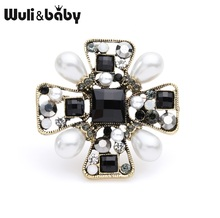 Wuli&baby Black Cross Brooches Women Vintage Baroque Style Pearl Flower Brooch Pins Gifts