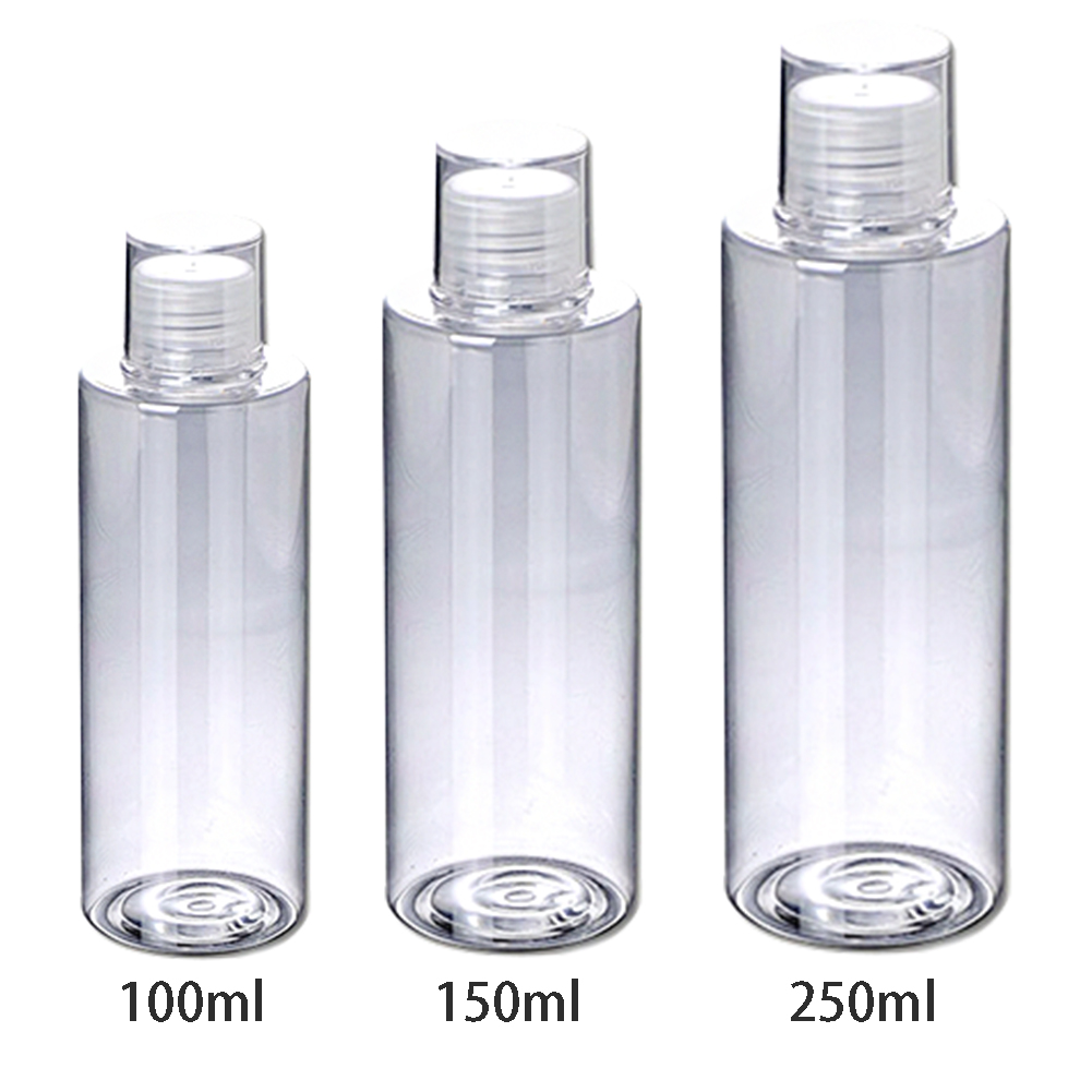 Home Essential Oil Clear Flip Top Toner Travel Empty Body Wash Refillable Container Screw Lids Lotion Bottles Shampoo Cream