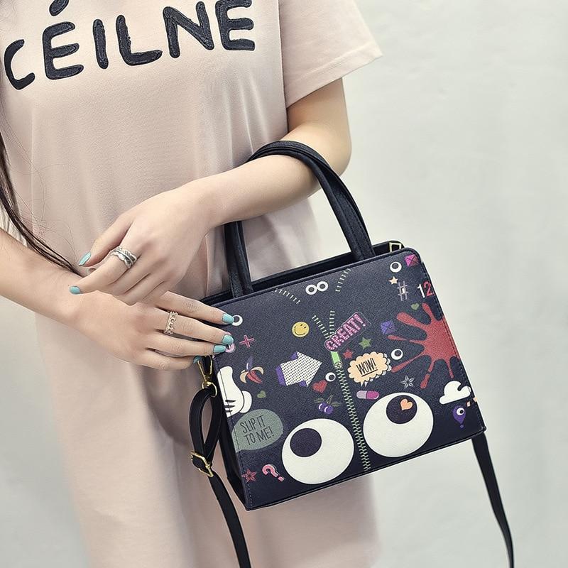 2019 new Korean version of the cartoon cartoon small square bag women's shoulder bag printing fashion qualitative handbags|Shoulder Bags| |  -