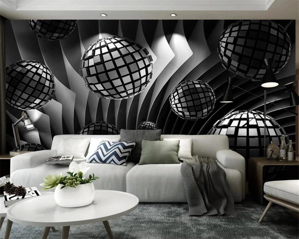 Фотообои на заказ, новый трехмерный шар, современный минималистичный фон для телевизора, настенная живопись, домашний декор, самоклеящиеся ...