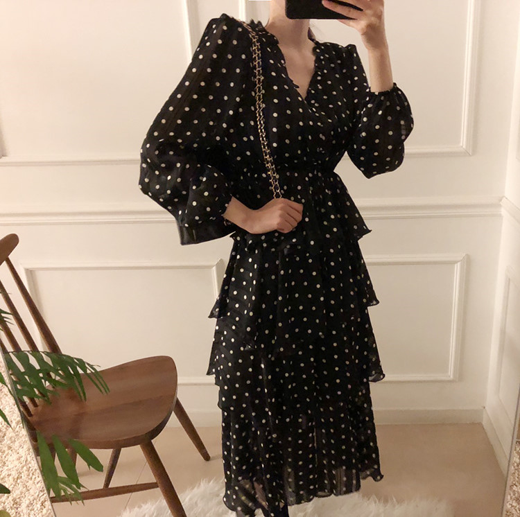 H731092ce1187438bb707d1d85047a1f0Q - Autumn V-Neck Long Sleeves Satin Polka Dots Multi-Layers Midi Dress