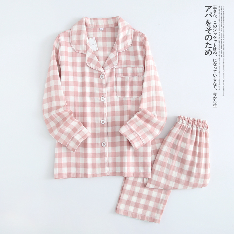Spring And Summer Autumn New Products Children Pure Cotton Plaid Pajamas Suit BOY'S Girls Double Layer Gauze Tracksuit Long Slee