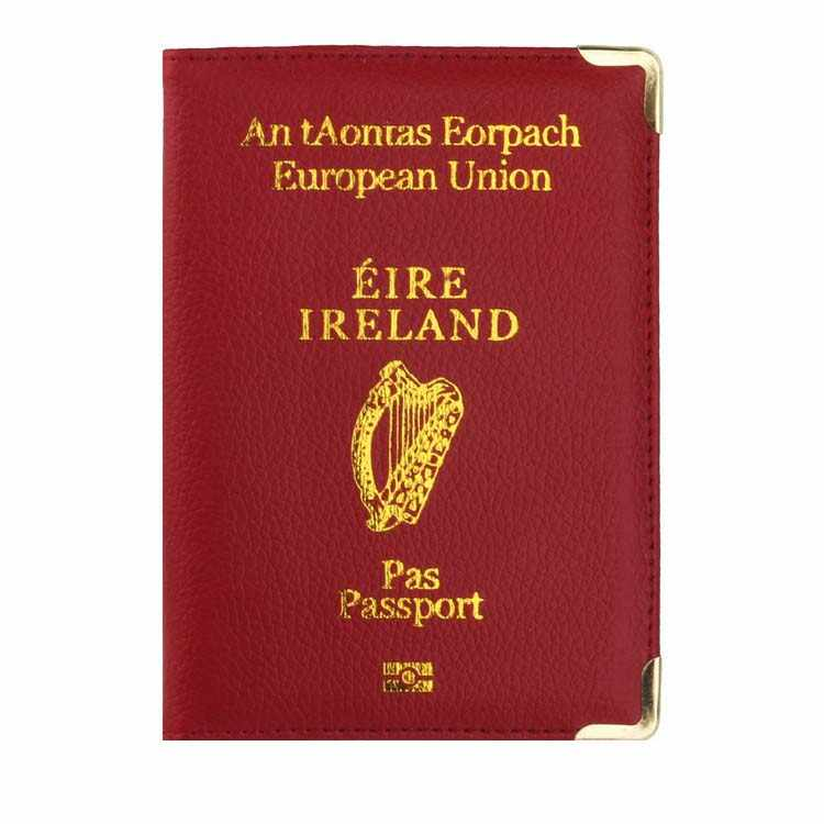 Ireland Travel Passport Cover Protector Case for Ireland Leather Passport Holder Business& Credit Card Holder Case