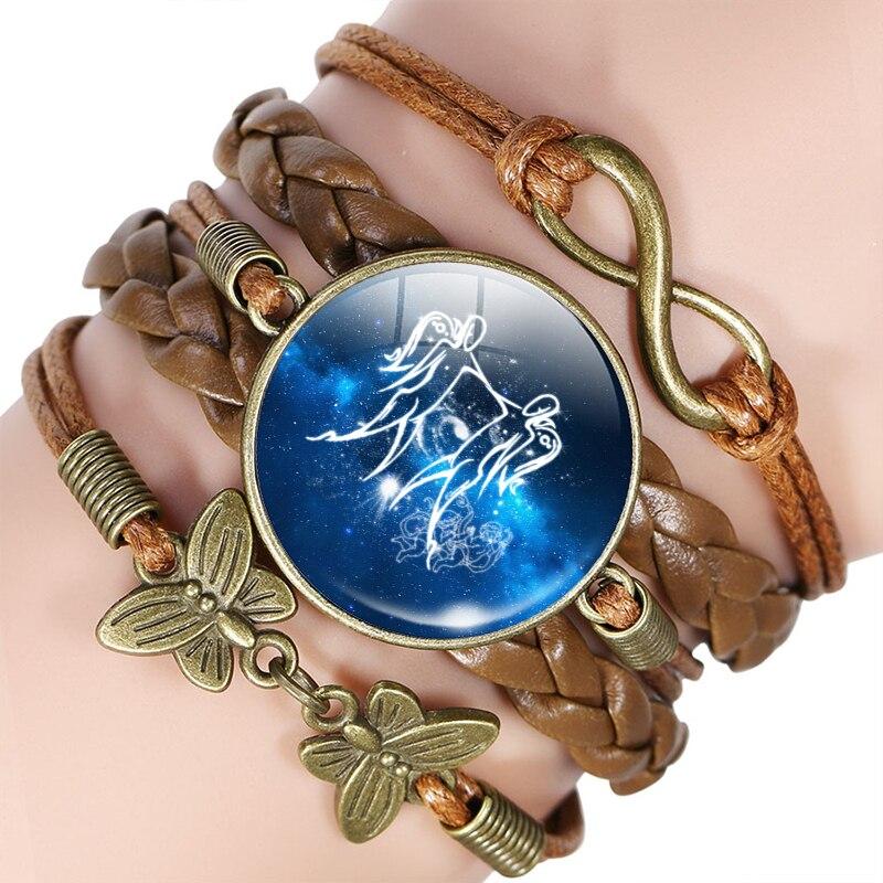 12 Zodiac Sign Leather Bracelet Bangle Virgo Libra Scorpio Sagittarius Constellation Jewelry Birthday Gift