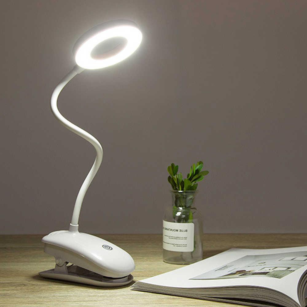 LED שולחן מנורת מגע על/כיבוי 3 מצבים קליפ שולחן מנורת 7000K עיניים הגנת שולחן אור דימר נטענת USB Led מנורת שולחן