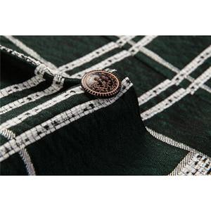 Image 5 - Shenrun 男性ブレザーグリーン綿若者のファッションジャケットチェックカジュアルブレザースリムフィット衣装歌手ホストパーティーウェディングスーツジャケット