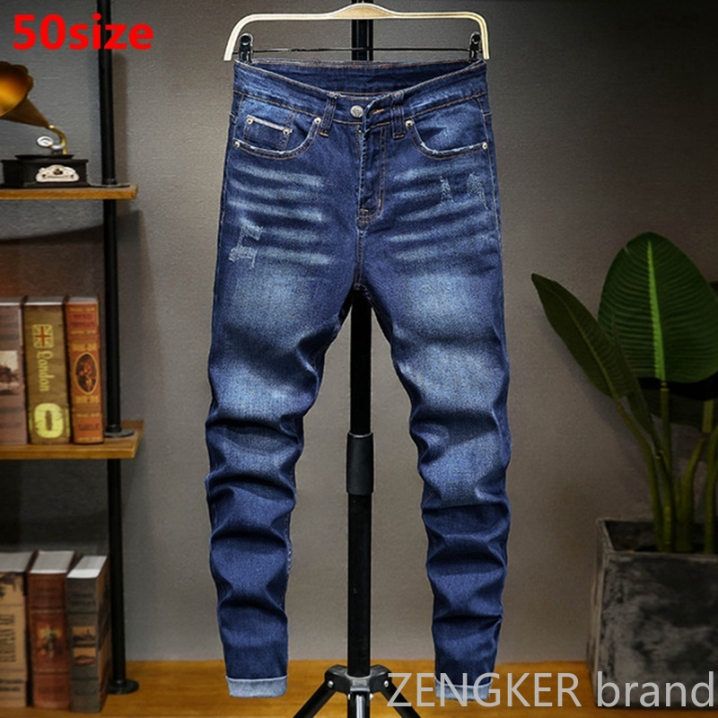 Spring New Big Size Men's Jeans Simple And Stylish Korean Pants 50 48 46 Loose Trousers Men Large Size Jeans