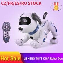 LE NENG TOYS – Robot K16A de chien avec télécommande à voix pour enfant, animal radiocommandé RC électronique, avec sons, musique, chansons, jouet, cadeau d'anniversaire idéal,