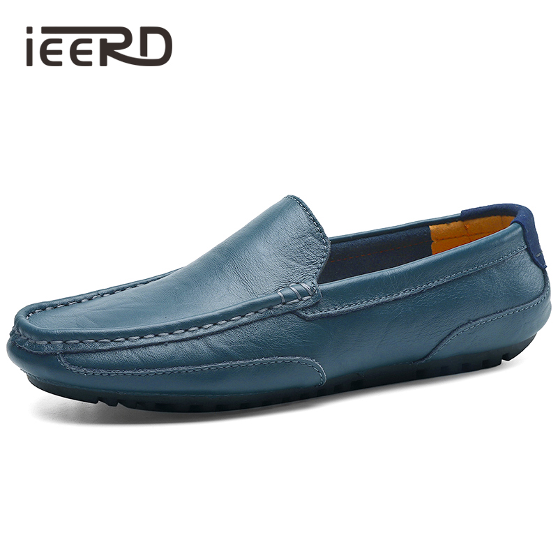 Four Season Men Loafer Hot Sale Split Leather Shoes Men Boat Shoes Breathable Casual Shoes