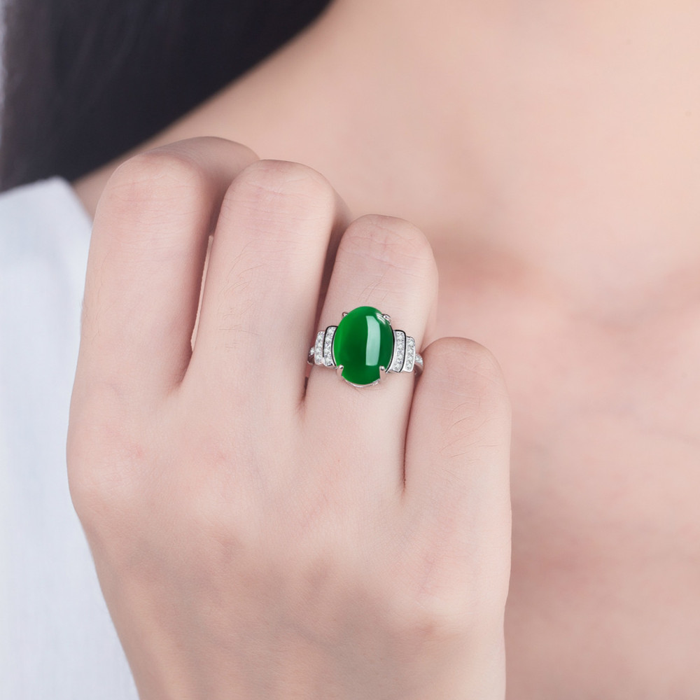 Vintage Female Sterling Silver 925 Rings Girls Lady Promised Accessories Charm Zircon Green Oval Ring Female Jewelry New Arrival