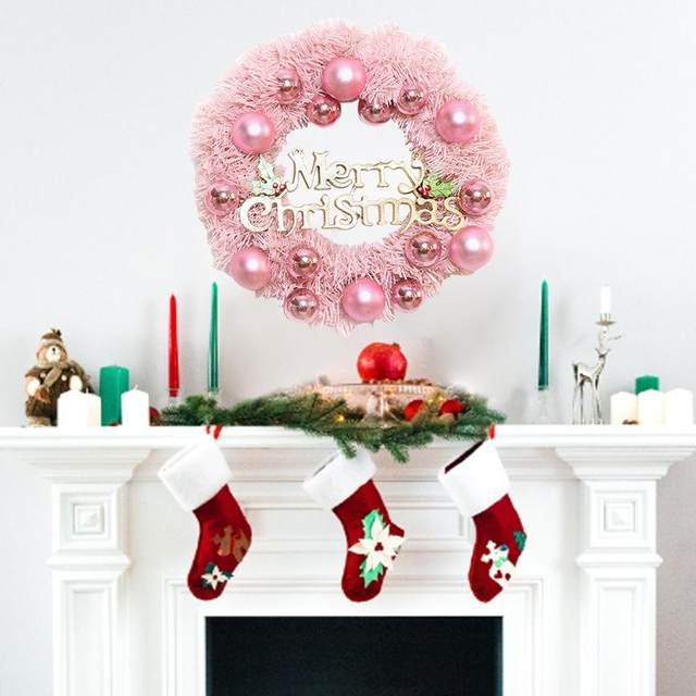 30/40cm Christmas Decoration Pink Christmas Wreath Rattan Ring Shopping Mall Window Scene Ornaments Artificial Christmas Wreath 16