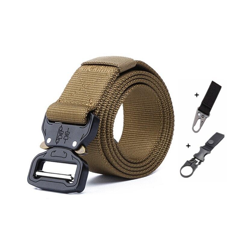 Тактический ремень для спорта на открытом воздухе, нейлоновые поясные ремни с аксессуарами для охоты, армии, тяжелая тренировочная Боевая Мужская Военная - Color: K belt and 2 hook