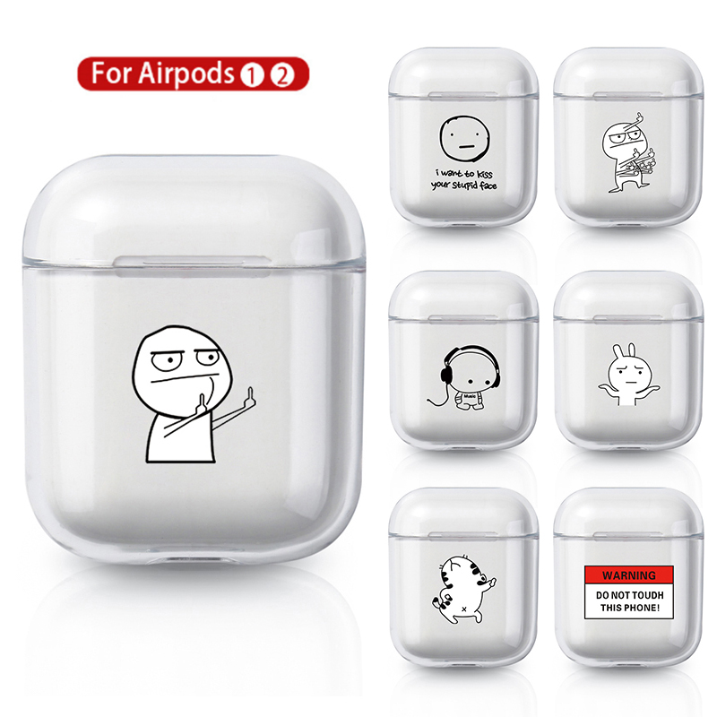 Case For AirPods 2 1 Case Cover Coque Wireless Bluetooth Headphones Transparent PC Hard Cover On Air Pods Apple Funda Capa