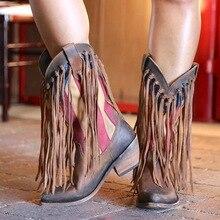 Высокие рыцарские сапоги с бахромой; женские ковбойские сапоги; зимняя повседневная обувь на высоком каблуке в этническом стиле; женские Стильные Ковбойские сапоги с острым носком и бахромой в стиле ретро