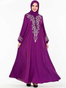 Image 3 - BNSQ Fashion Women Muslim Dress Abaya Islamic Clothing Malaysia Jilbab Djellaba Robe Musulmane Embroidery Maxi Dress Plus Size