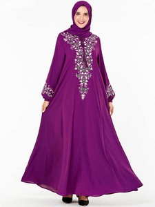 Image 3 - BNSQ Mode Frauen Muslimischen Kleid Abaya Islamische Kleidung Malaysia Jilbab Djellaba Robe Musulmane Stickerei Maxi Kleid Plus Größe
