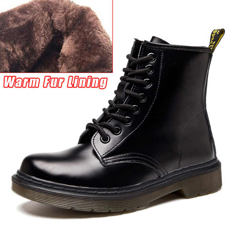 Genuine Leather Men Boots Motorcycle Boots Men Winter Shoes For Martin Boots Male Ankle Boots Black Lace-up Plus Size 45 46
