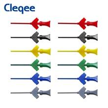 Cleqee SMD IC 테스트 후크 미니 로직 애널라이저 그래버 내부 스프링 프로브 클립 점퍼 연결 듀폰 테스트 리드 액세서리
