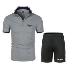 New Summer casual Business polo shirt +Quick dry Shorts men short sleeve turn down collar slim fit for men 2 Piece Set
