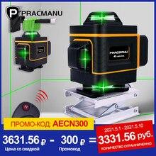 Niveau Laser Lumière Verte 4D à 16 Lignes de marque PRACMANU Croix Horizontale et Verticale Lignes Auto-Nivellement, à l'intérieur et à l'extérieur