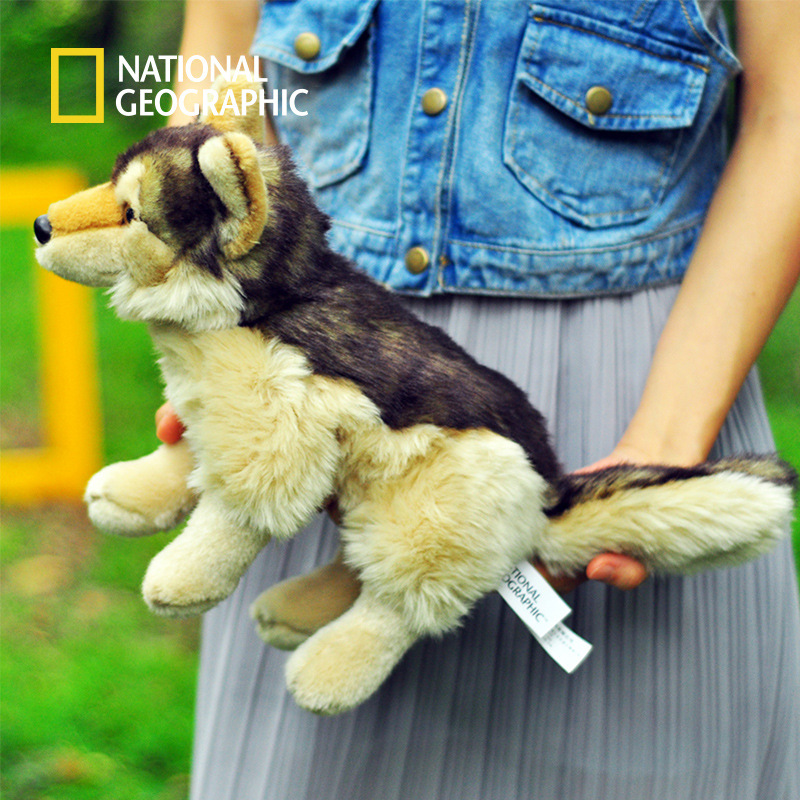 National Geographic plush toy stuffed PP cotton wolf 25cm doll gift image