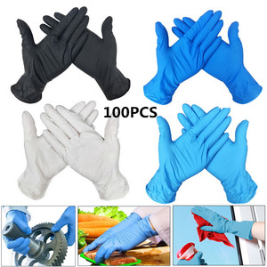100Pcs Disposable Nitrile Gloves Antistatic 9 Inch Inspection Protective Gloves Clean Cut-Proof Class A  PVC Gloves Multicolor