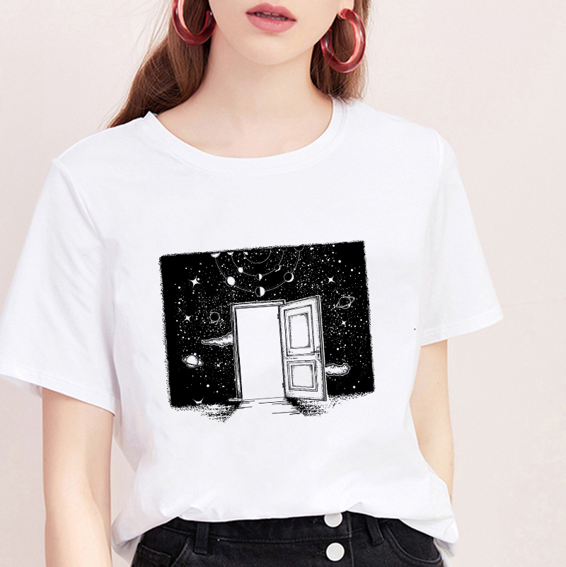 Women Space Aesthetics Printed Harajuku Female TShirt Trend Thin Section Comfortable Korean Tops Tee 2019 New Summer T Shirt