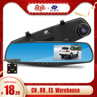 E ACE Full HD 1080P Car Dvr Camera Auto 4.3 Inch Rearview Mirror Digital Video Recorder Dual Lens Registratory Camcorder