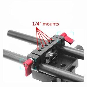 Image 2 - 15mm Rig מוט כפול חורים 1/4 3/8 חוט טלה עדשת מחזיק תמיכת Rail צילום מערכת עבור DLSR מצלמה כלוב חלקי