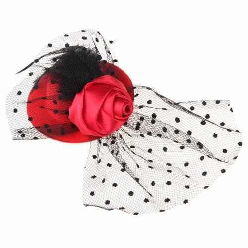 Feather Mini Top Hat Rose Mesh Dots Haar Clip Sluier Tovenaar Bruiloft Rode