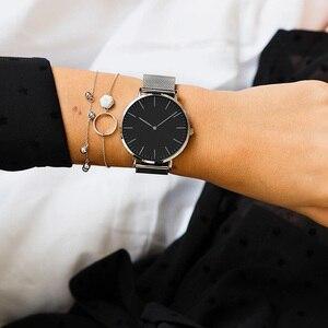 Image 5 - Top Brand Women Watches 38mm Fashion Ultra thin Stainless Steel Ladies Dress Watch Montre Femme Zegarki Damskie Reloj Mujer Gift