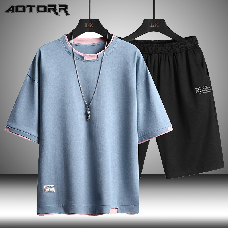 2021 Summer Men Casual Sports Sets Round Neck T-shirt Shorts Solid Color 2 Piece Suit Fashion Sports Breathable Mens Clothes 1