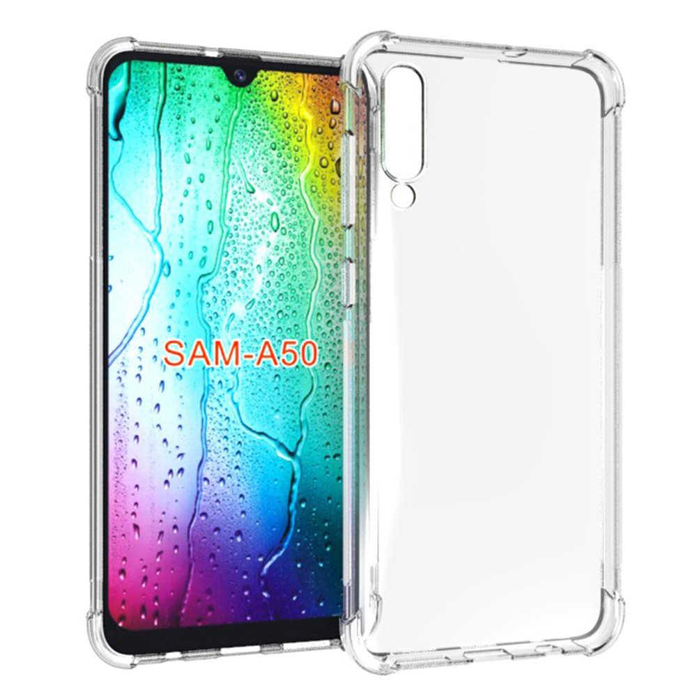 Darbeye tampon şeffaf silikon telefon kılıfı için Samsung Galaxy A50 A80 A90 A60 A10 A70 A40 A20 M30 M10 M20 50 kapak çapa