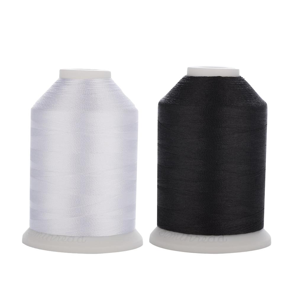 Linha de costura preta branca 40wt tkt 120 tex 27 da linha de costura do bordado do poliéster trilobal de simthread em 1100yds 2 mini-rei carretéis