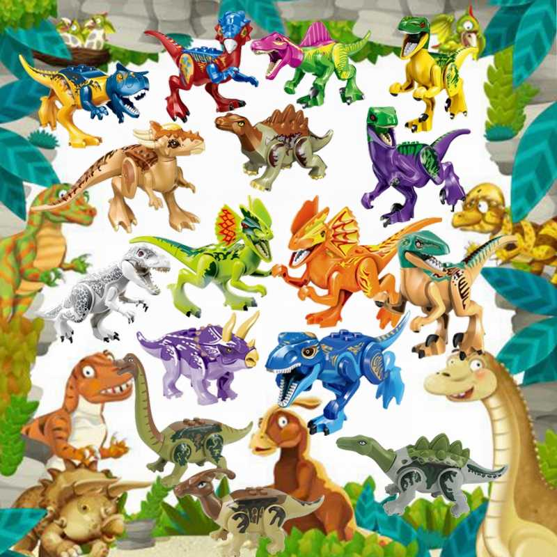 Legoingly Dinosaurs Jurassic World Indoraptor Velociraptor Tyrannosaurus Rex Figures Building Blocks Set Animal Education Toys