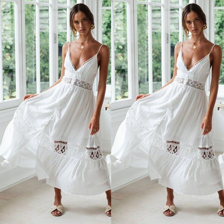 BacklakeGirls Summer Wear Lace Split Joint Sexy Hollow Out Spaghetti Strap Sleeveless African Evening Dresses Vestido Fiesta