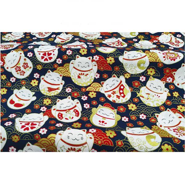 الأزرق الداكن الأحمر القطن البرنز النسيج ، القط نمط قبل قطع الخياطة النسيج باتشووركس اللحف DIY بها بنفسك اليابانية النسيج