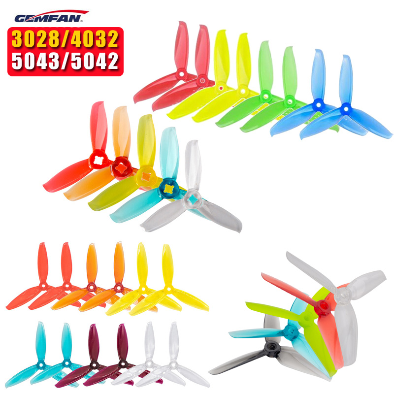 2 Pairs Gemfan Windancer 3028/4032/5042/5043 3-blade Propeller Compatible 5mm/1.5mm Mounting Hole For RC Multicopter Drone