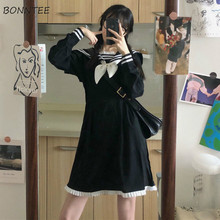 Women Dress Mini A-Line Bow Design Full Length Sailor Collar Patchwork JK High Waist Preppy Style Students Harajuku Lovely New