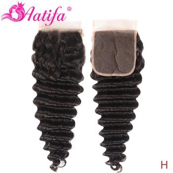 Aatifa 5x5 Lace Closure Peruvian Human Hair Closure Loose Deep Wave Natural Color 5x5 Lace Closure