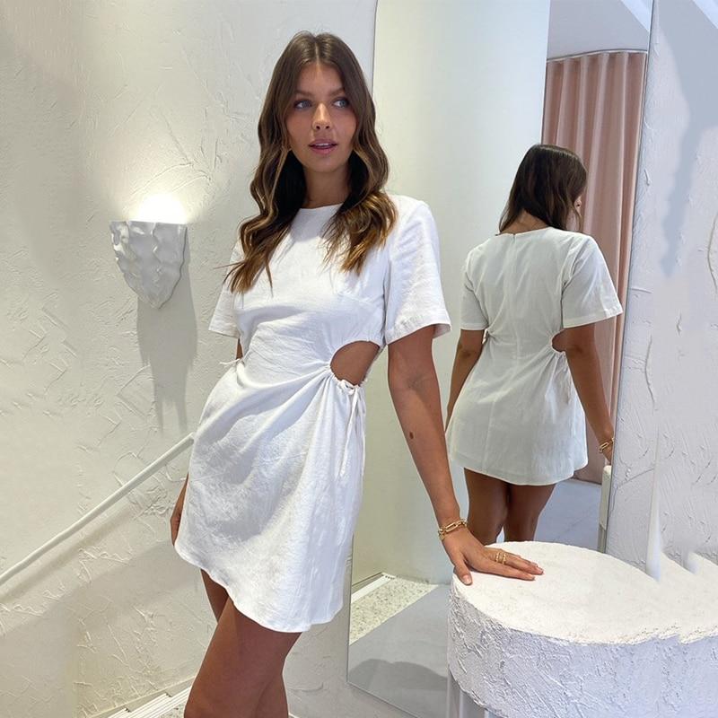 Ardm женское платье Spring 2021 New O-Neck Adjustable Side Cutout White Mini Dress Sexy Hollow Out Drawstring Ladies Vestido