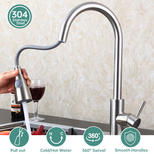 2020 Pull Out Kitchen Faucet Brushed Nickel Mixer Faucet Single Hole Pull Out Spout Kitchen Sink Mixer Tap Stream Sprayer Tool nickel brushed pull down kitchen sink faucet single handle swivel spout pull out mixer tap with cover plate