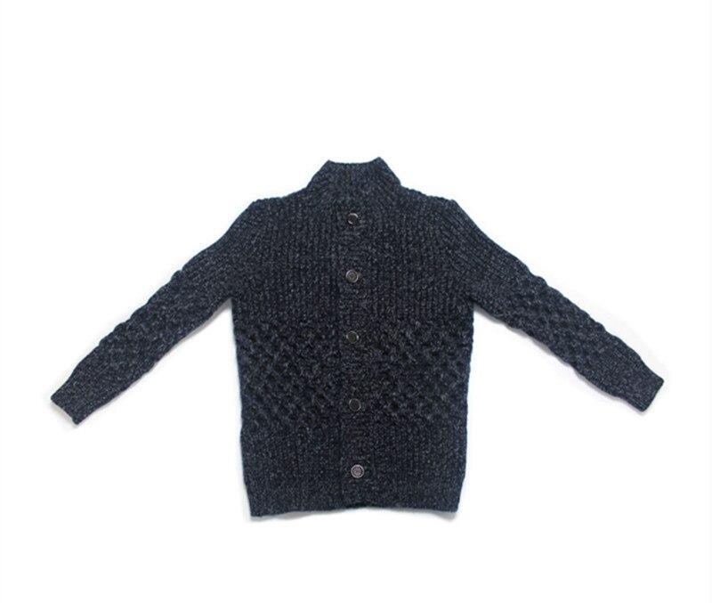 High-end 100% Hand Made Cashmere Clip Yarn Knit Men Add Thick Cardigan Sweater Coat Mandarin Collar M/170-XL/180