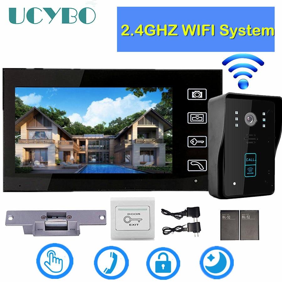 "7"" Wifi Video Intercom System Wireless Video Door Phone For Home Security 1200tvl Camera Electric Lock Door Access Control RFID"