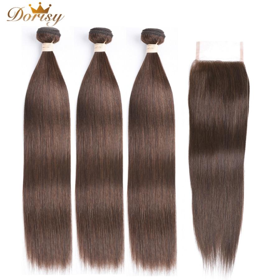 Brown Bundles With Closure Human Hair Bundles With Closure Dark Brown Bundles With Closure Non Remy Brown Brazilian Bundles