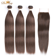 Brown Bundles with Closure Human Hair Bundles With Closure Dark Brown Bundles With Closure Non Remy Brown Brazilian Bundles cape massage главдор ag16029 with деревяннными inserts with brown mesh pattern 55180