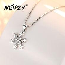 NEHZY-collar de plata de ley 925 para mujer, joyería de alta calidad, flor de circonita de cristal, colgante Simple Retro, largo de 45CM