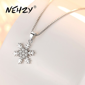 NEHZY 925 Sterling Silver Women's Fashion New Jewelry High Quality Crystal Zircon Flower Retro Simple Pendant Necklace Long 45CM - discount item  40% OFF Fine Jewelry