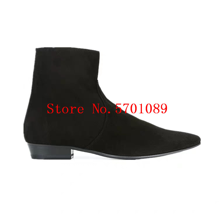 Chelsea Boots Man Genuine Leather Martin Ankle Boots Fashion Kanye West Western Cowboy Side Zip New Shoes 37-47