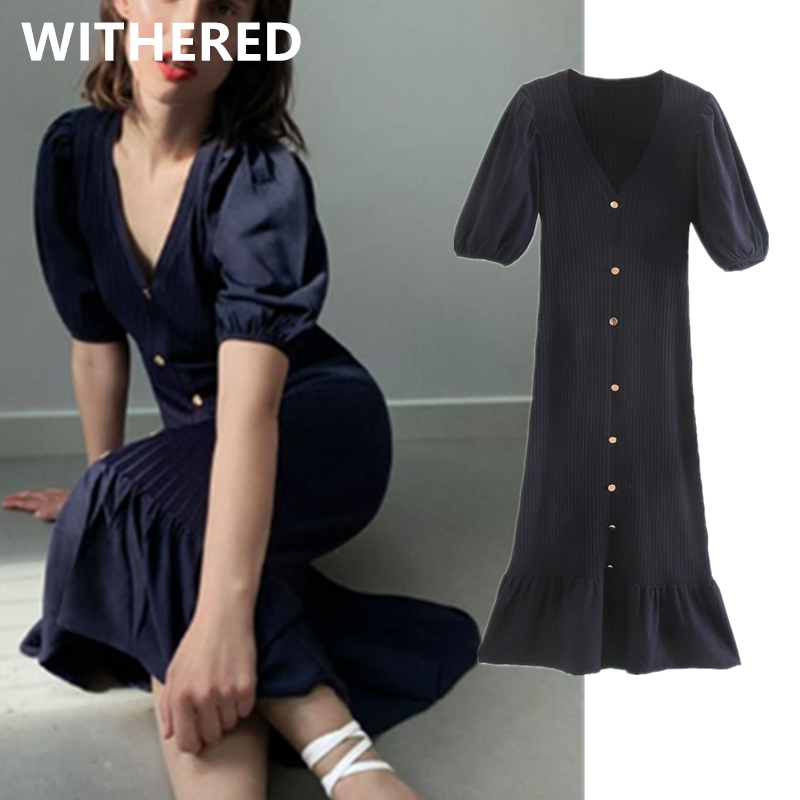 Withered ins fashion blogger vintage knitted single breasted summer dress women vestidos de fiesta de noche vestidos party dress